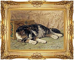 Henriette Ronner Knip Cat Nap canvas with Majestic Gold frame