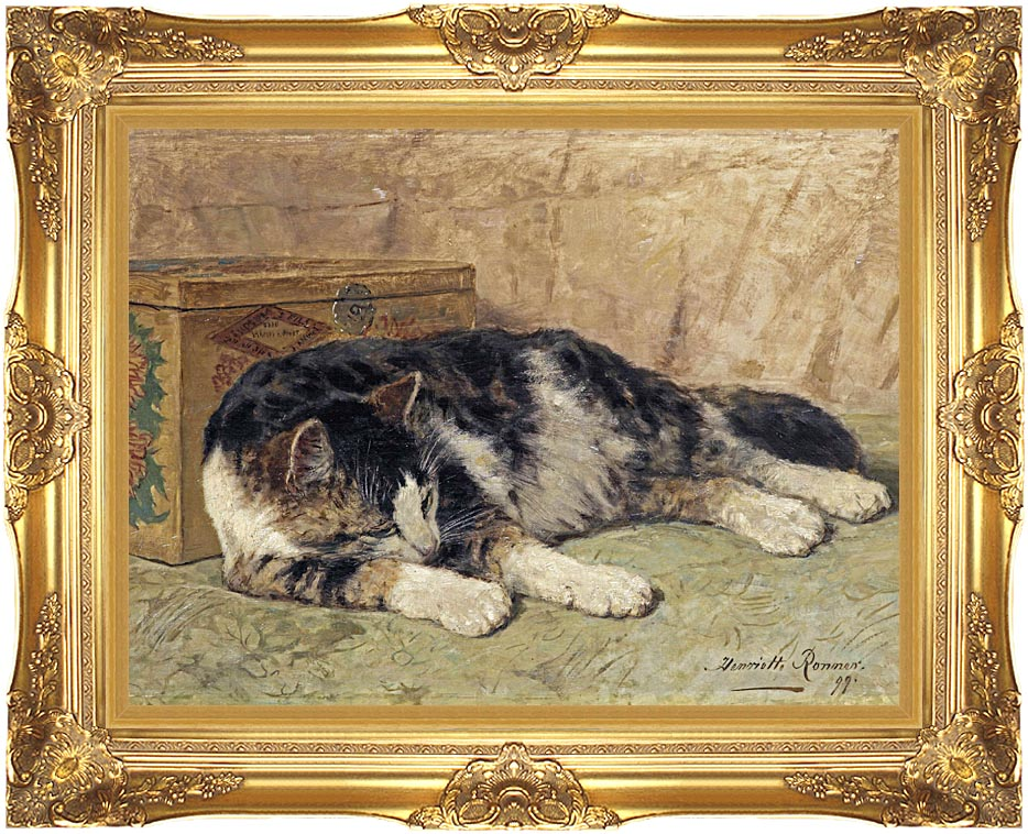 Henriette Ronner Knip Cat Nap with Majestic Gold Frame