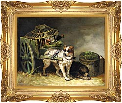 Henriette Ronner Knip Pair Of Hunting Dogs canvas with Majestic Gold frame