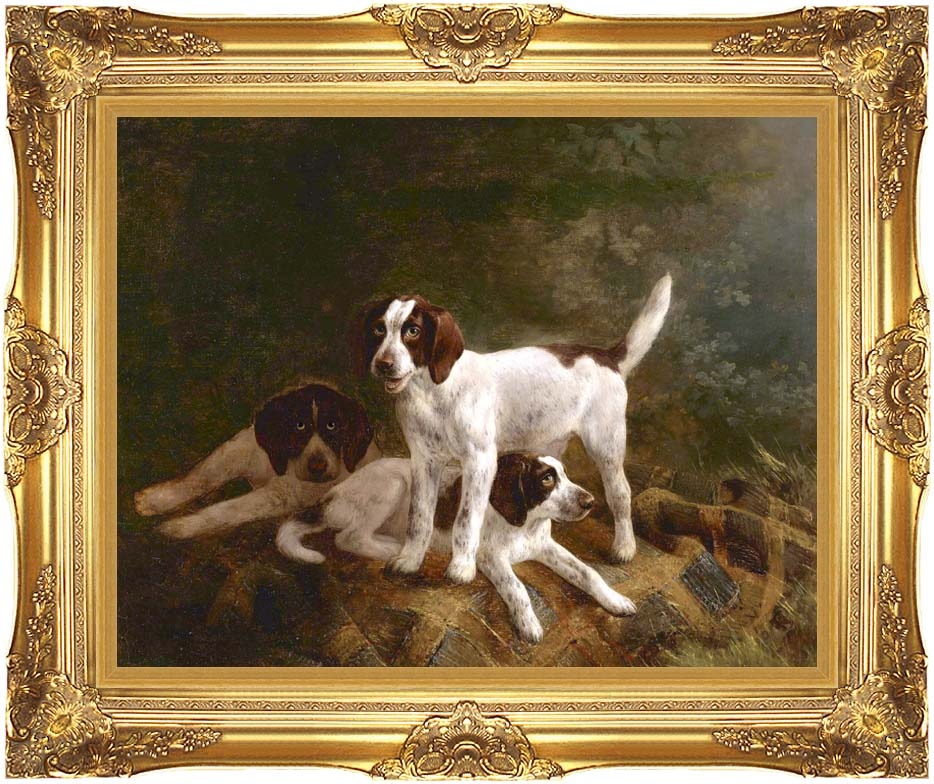 Henriette Ronner Knip Play Time for Puppies with Majestic Gold Frame