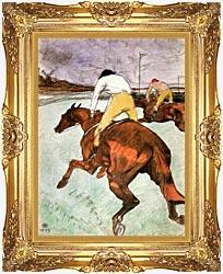Henri De Toulouse Lautrec The Jockey canvas with Majestic Gold frame