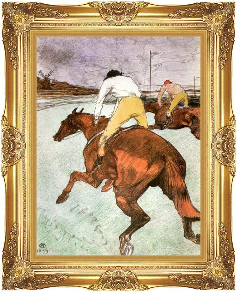 Henri de Toulouse Lautrec The Jockey with Majestic Gold Frame