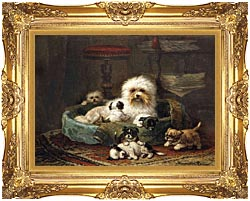 Henriette Ronner Knip Playful Puppies canvas with Majestic Gold frame