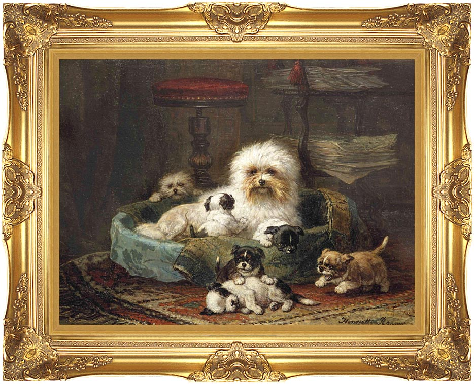Henriette Ronner Knip Playful Puppies with Majestic Gold Frame