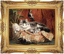 Henriette Ronner Knip Playtime canvas with Majestic Gold frame