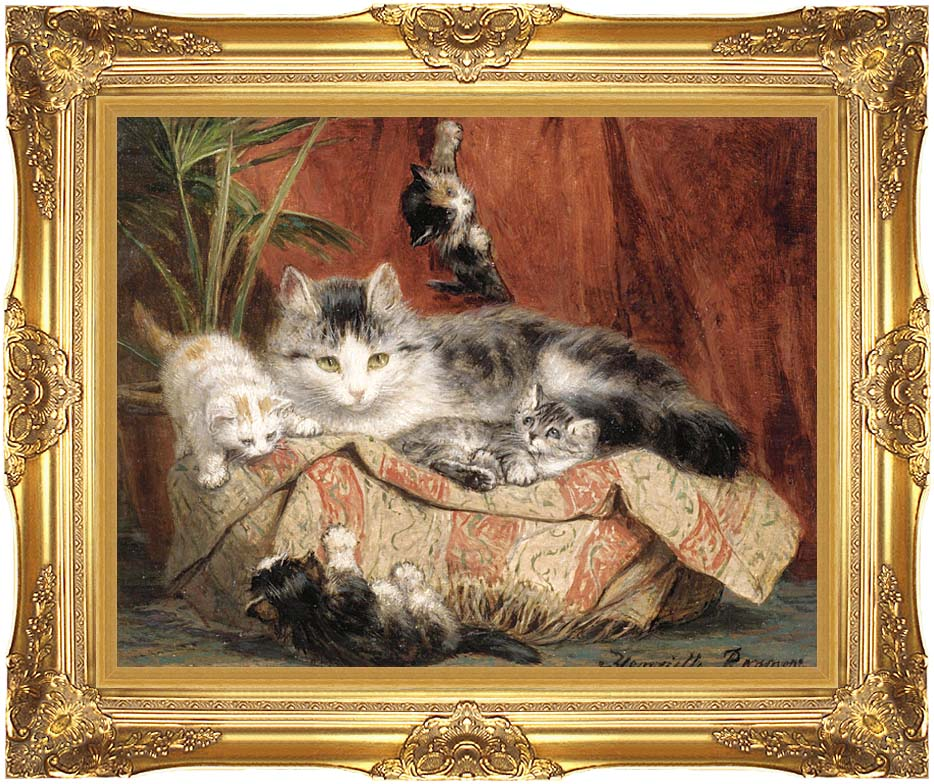 Henriette Ronner Knip Playtime with Majestic Gold Frame