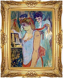 Henri De Toulouse Lautrec The Tattoed Woman Or The Toilette canvas with Majestic Gold frame