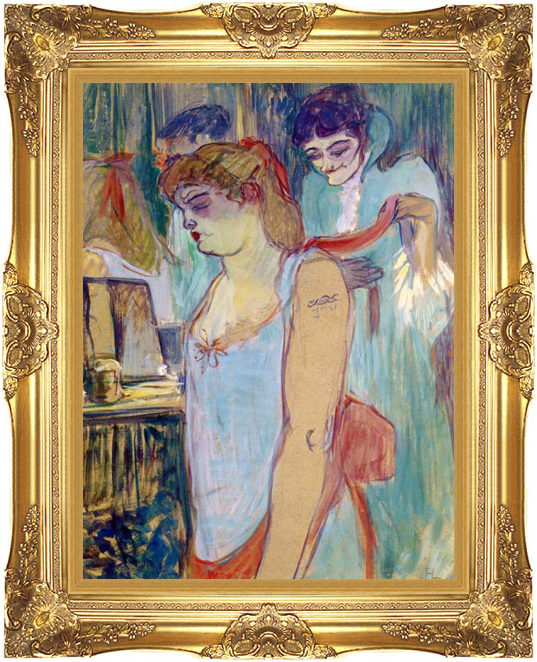 Henri de Toulouse Lautrec The Tattoed Woman or the Toilette with Majestic Gold Frame