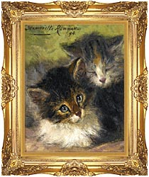Henriette Ronner Knip Painting Of Two Kittens canvas with Majestic Gold frame