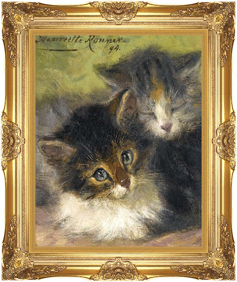 Henriette Ronner Knip Painting of Two Kittens with Majestic Gold Frame