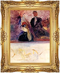 Henri De Toulouse Lautrec Theater Box With The Gilded Mask canvas with Majestic Gold frame