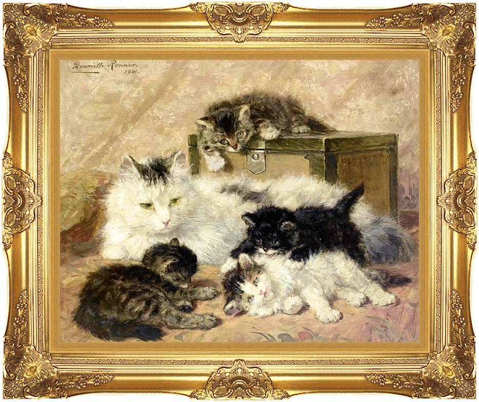 Henriette Ronner Knip Remembrance of Happy Days with Majestic Gold Frame
