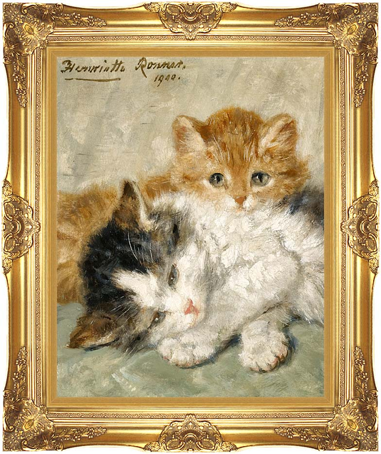 Henriette Ronner Knip Sleepy Kittens with Majestic Gold Frame