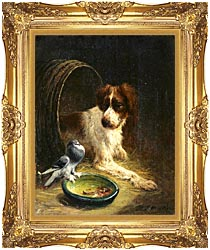 Henriette Ronner Knip Spaniel Defending His Dinner canvas with Majestic Gold frame