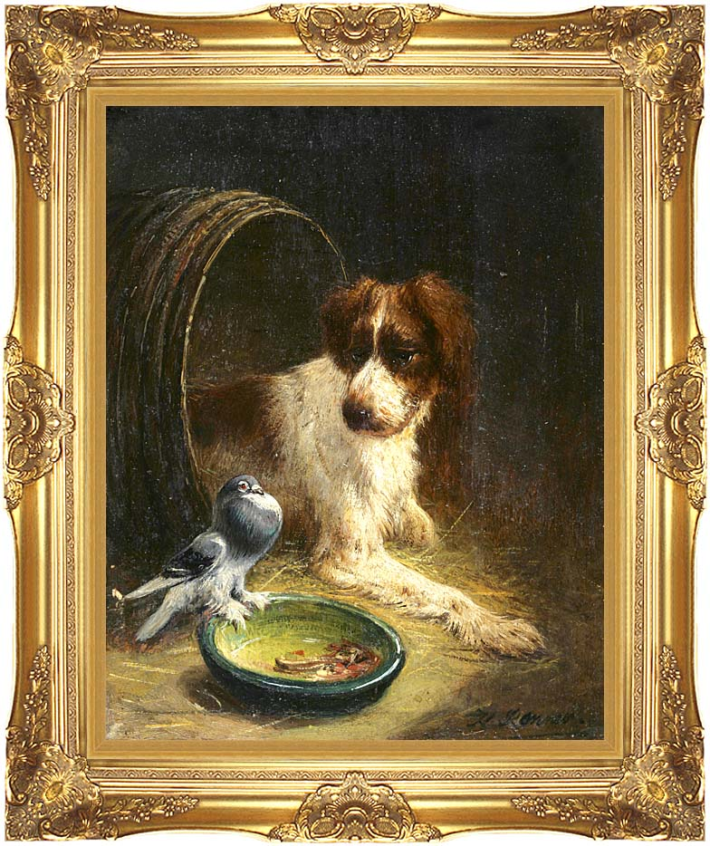 Henriette Ronner Knip Spaniel Defending His Dinner with Majestic Gold Frame