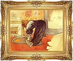 Henri De Toulouse Lautrec Woman At The Tub canvas with Majestic Gold frame