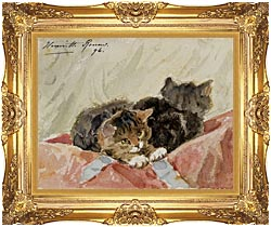 Henriette Ronner Knip The Awakening canvas with Majestic Gold frame