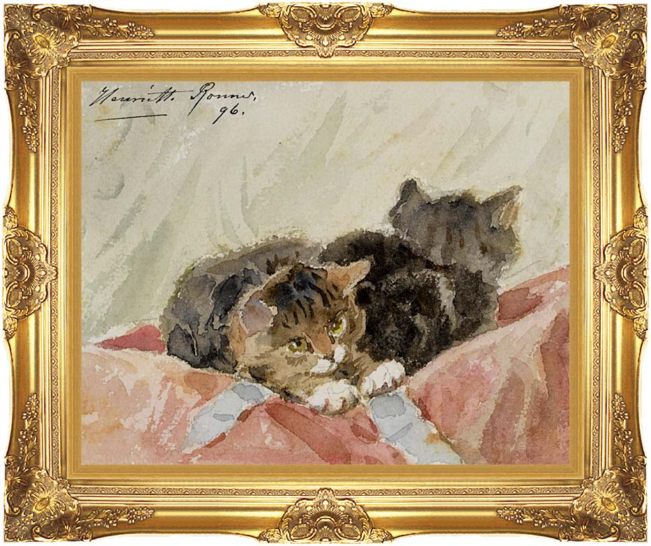 Henriette Ronner Knip The Awakening with Majestic Gold Frame