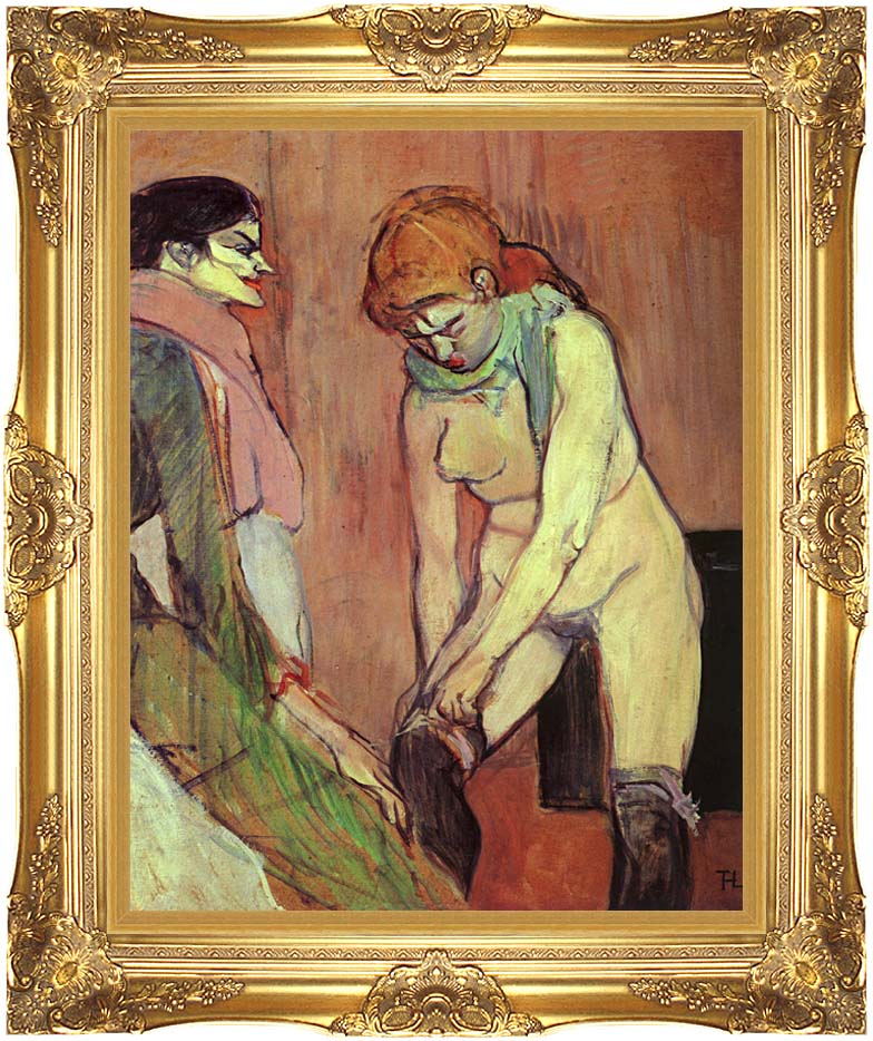 Henri de Toulouse Lautrec Woman Putting on her Stocking with Majestic Gold Frame