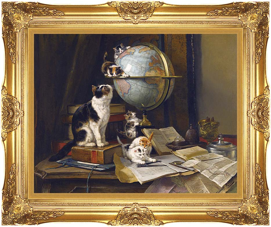 Henriette Ronner Knip The Globetrotters with Majestic Gold Frame