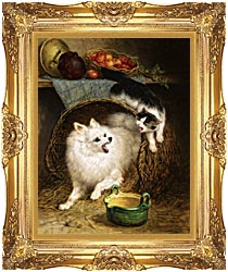 Henriette Ronner Knip The Intruder canvas with Majestic Gold frame