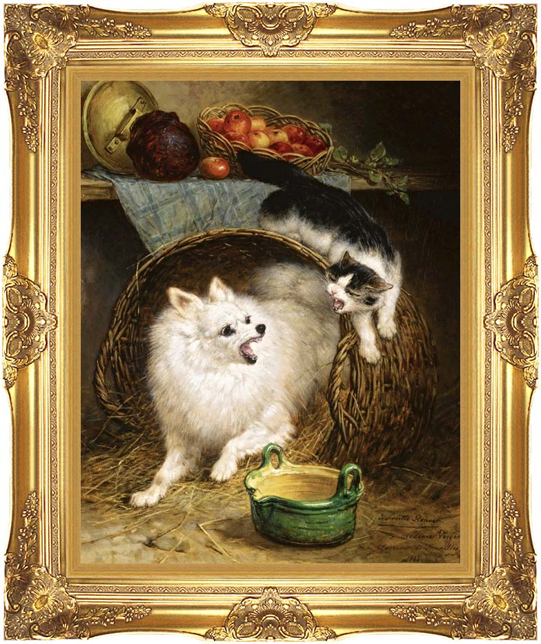 Henriette Ronner Knip The Intruder with Majestic Gold Frame