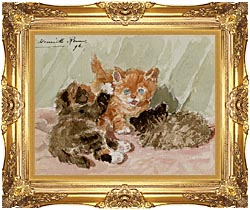 Henriette Ronner Knip The Jester canvas with Majestic Gold frame