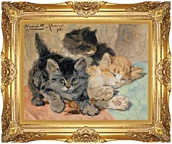 Henriette Ronner Knip Three Kittens canvas with Majestic Gold frame