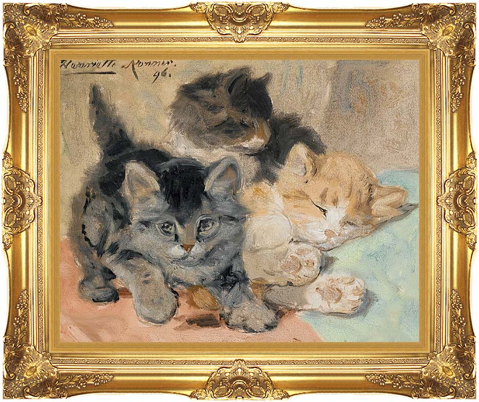 Henriette Ronner Knip Three Kittens with Majestic Gold Frame