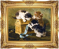 Henriette Ronner Knip Three Kittens With A Casket And Blue Ribbon canvas with Majestic Gold frame