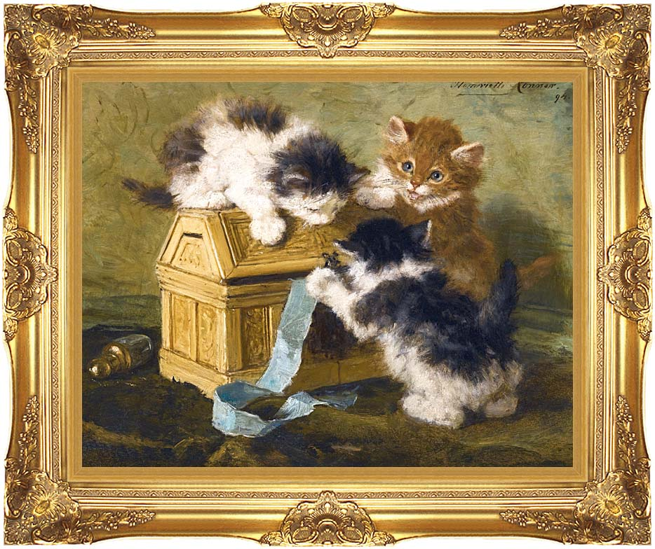 Henriette Ronner Knip Three Kittens with a Casket and Blue Ribbon with Majestic Gold Frame