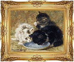 Henriette Ronner Knip Three Kittens Dinnertime canvas with Majestic Gold frame