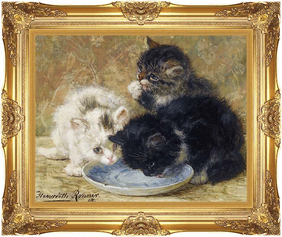 Henriette Ronner Knip Three Kittens, Dinnertime with Majestic Gold Frame