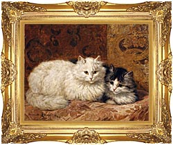 Henriette Ronner Knip Two Cats On A Cushion canvas with Majestic Gold frame