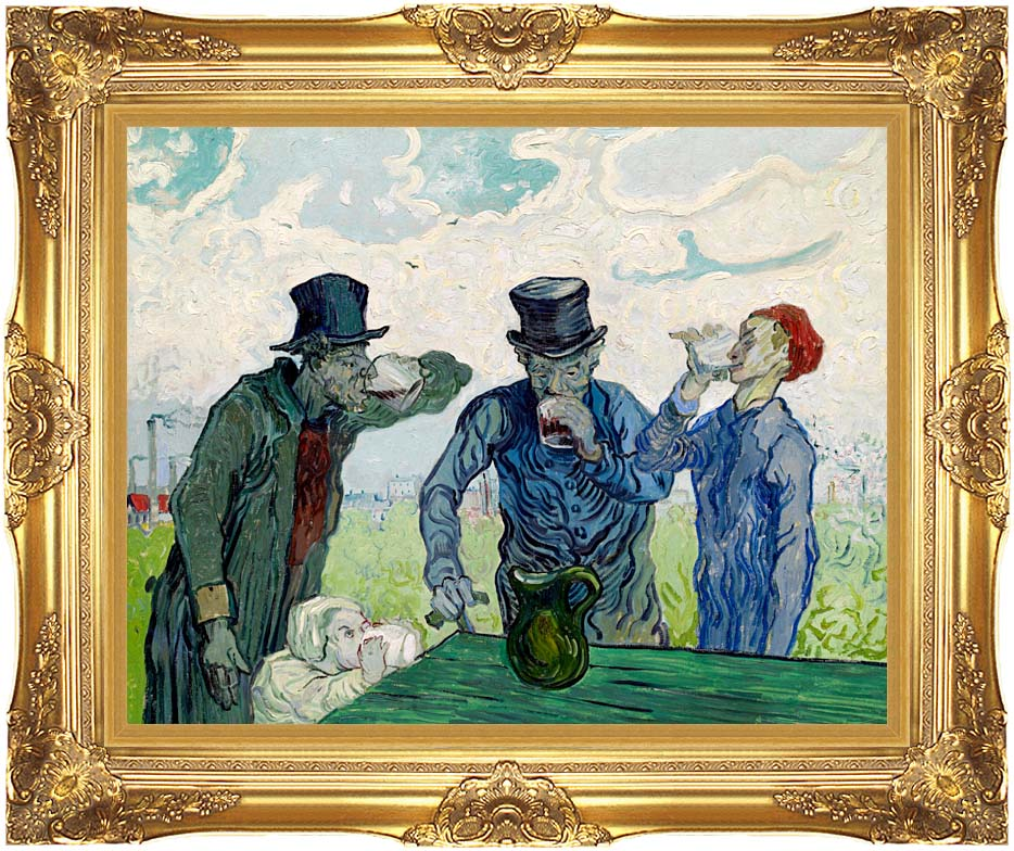 Vincent van Gogh The Drinkers with Majestic Gold Frame