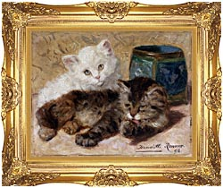 Henriette Ronner Knip Two Cute Kittens canvas with Majestic Gold frame
