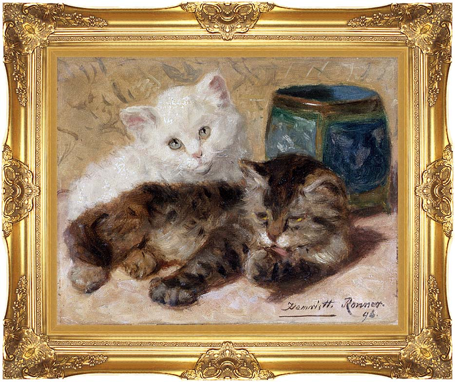 Henriette Ronner Knip Two Cute Kittens with Majestic Gold Frame