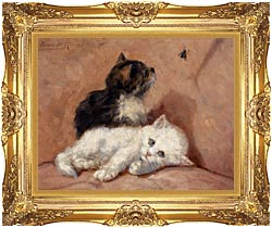 Henriette Ronner Knip Two Kittens canvas with Majestic Gold frame