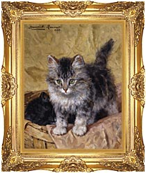 Henriette Ronner Knip Two Kittens In A Basket canvas with Majestic Gold frame