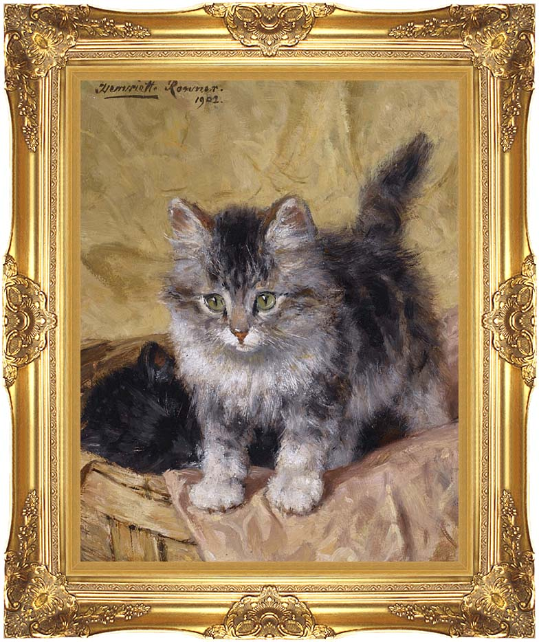 Henriette Ronner Knip Two Kittens in a Basket with Majestic Gold Frame