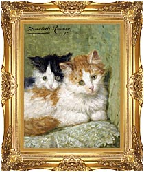 Henriette Ronner Knip Two Kittens Sitting On A Cushion canvas with Majestic Gold frame