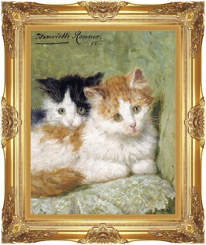 Henriette Ronner Knip Two Kittens Sitting on a Cushion with Majestic Gold Frame
