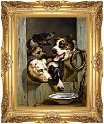 Henriette Ronner Knip Waiting For A Meal canvas with Majestic Gold frame