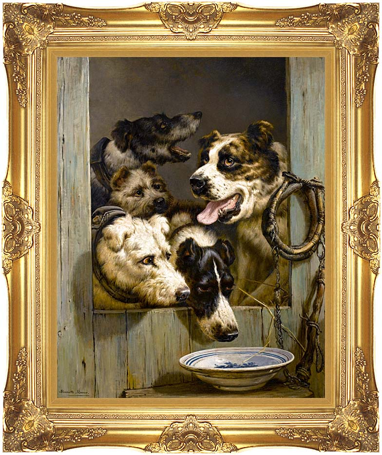 Henriette Ronner Knip Waiting for a Meal with Majestic Gold Frame