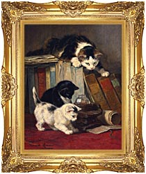 Henriette Ronner Knip Watching The Prey canvas with Majestic Gold frame