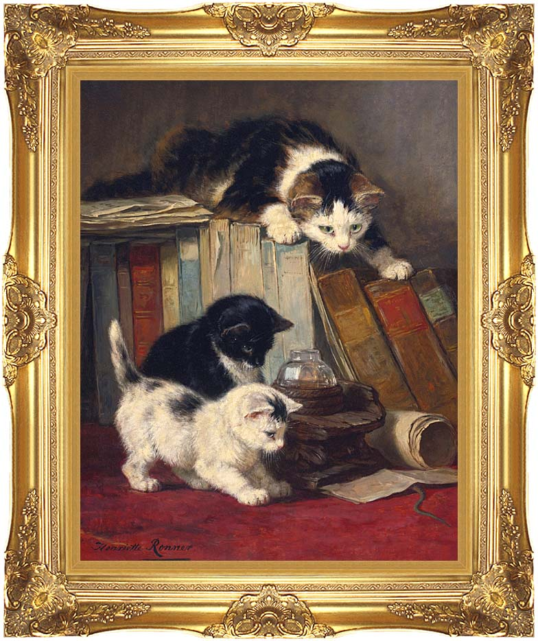 Henriette Ronner Knip Watching the Prey with Majestic Gold Frame