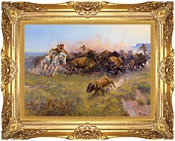 Charles Russell Buffalo Hunt No 39 canvas with Majestic Gold frame
