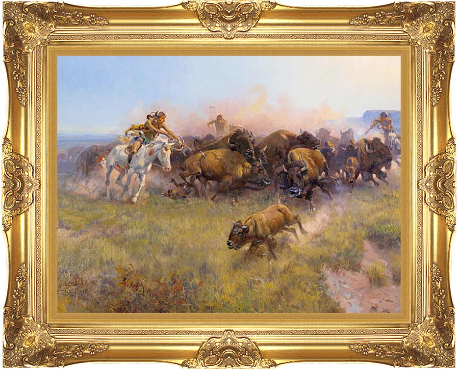 Charles Russell Buffalo Hunt No. 39 with Majestic Gold Frame