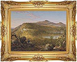 Thomas Cole A View Of The Two Lakes And Mountain House Catskill Mountains Morning canvas with Majestic Gold frame