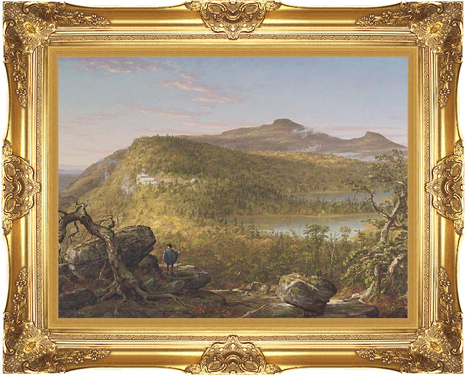 Thomas Cole A View of the Two Lakes and Mountain House, Catskill Mountains, Morning with Majestic Gold Frame